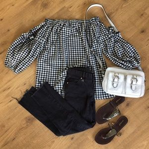 Off shoulder gingham blouse
